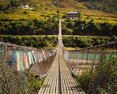 Journeying into Remote Villages of Bhutan Suspension Bridge